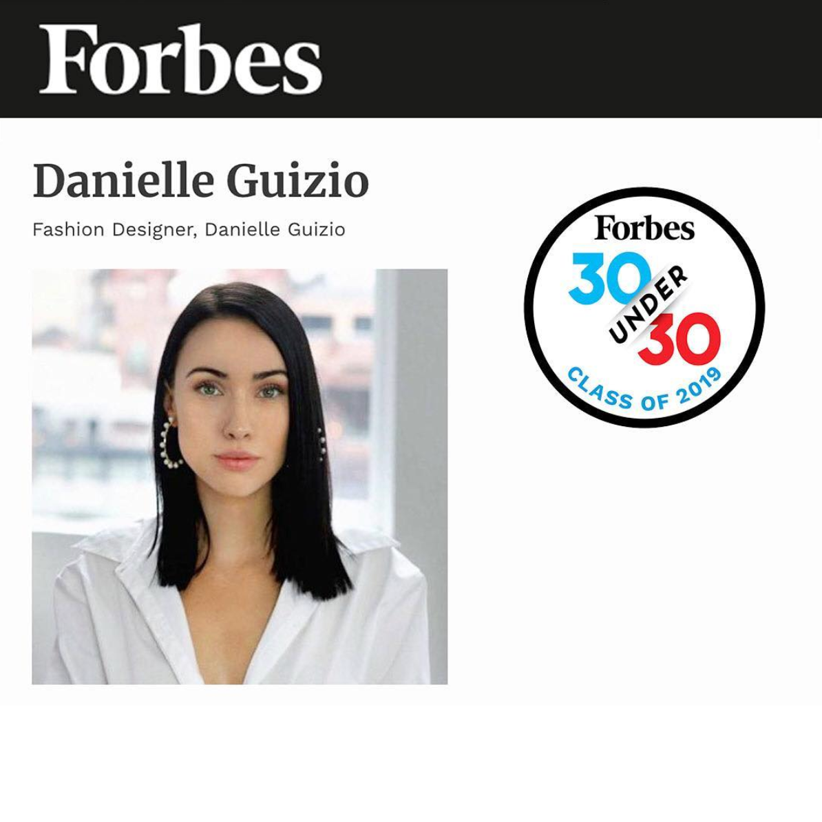 FORBES 30 UNDER 30 CLASS OF 2019