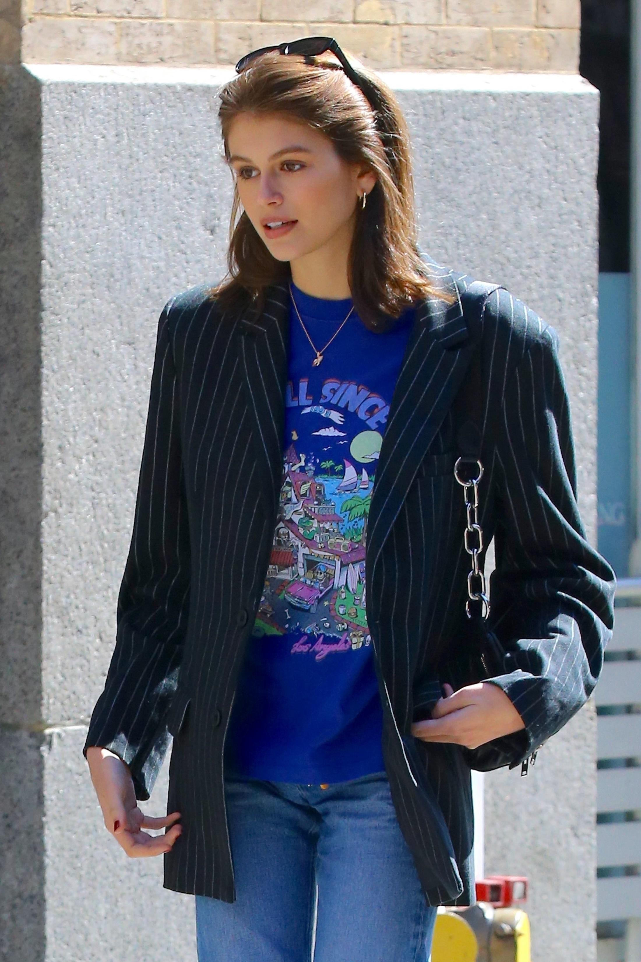Pinstripe Oversized Blazer on Kaia Gerber.jpg