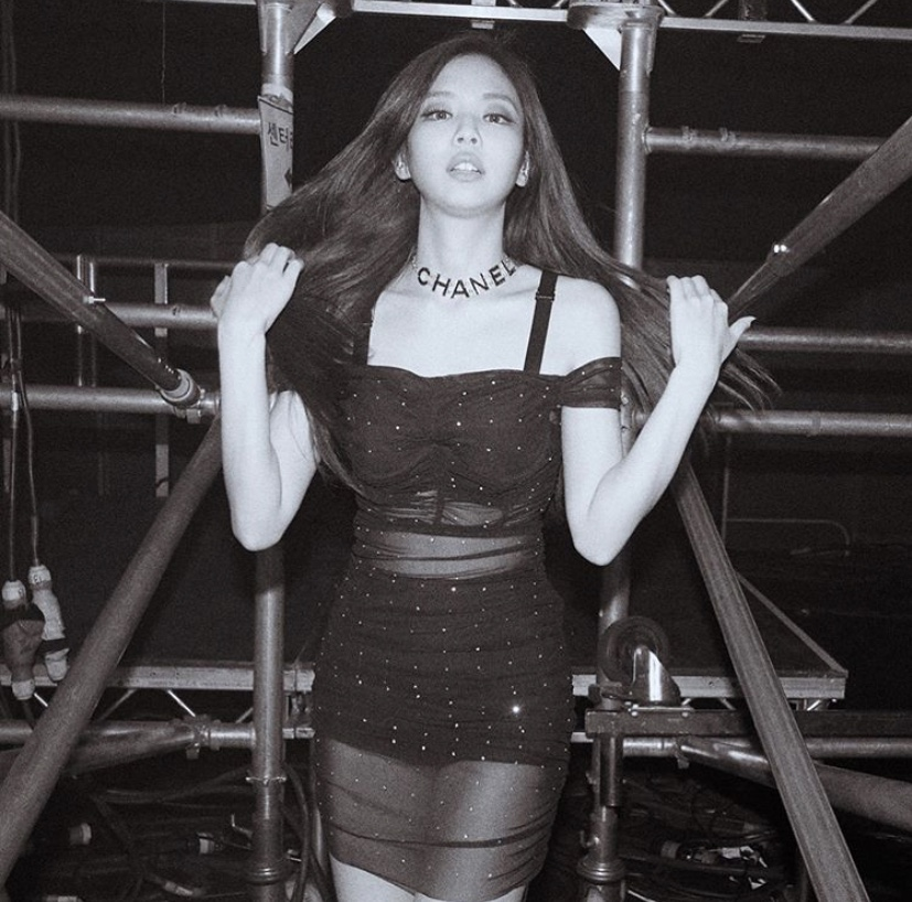 JENNIE IN DG EMBELLISHED LYNX RUCHED DRESS // MAY 2019