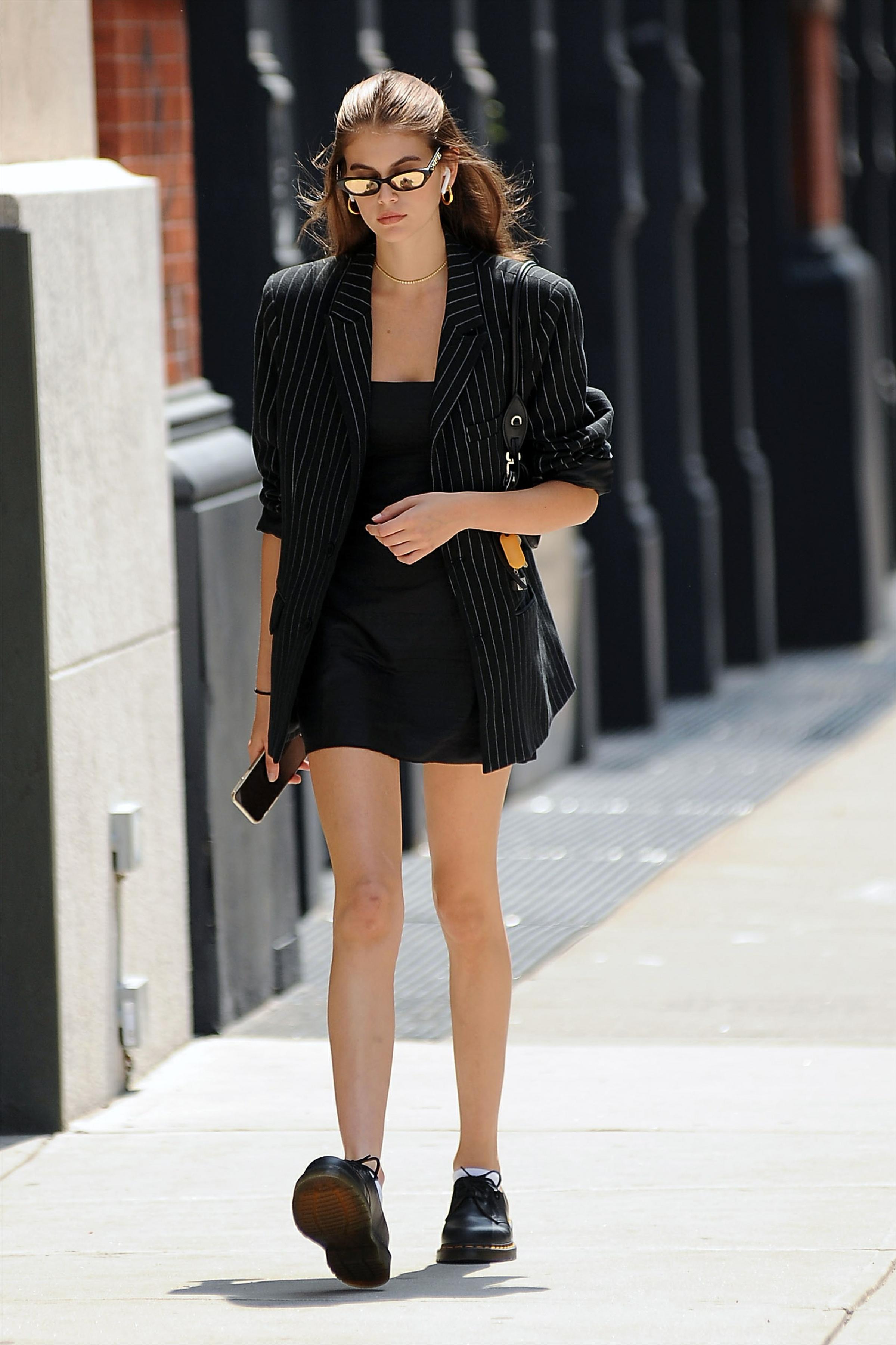 Kaia Gerber in DG Pinstripe Oversized Blazer.jpg