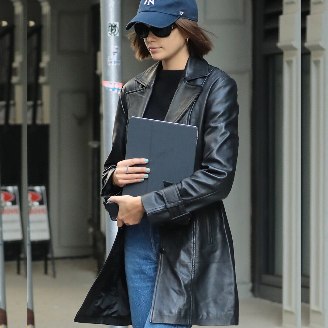 KAIA GERBER IN BELTED LEATHER TRENCH COAT // OCTOBER 2019