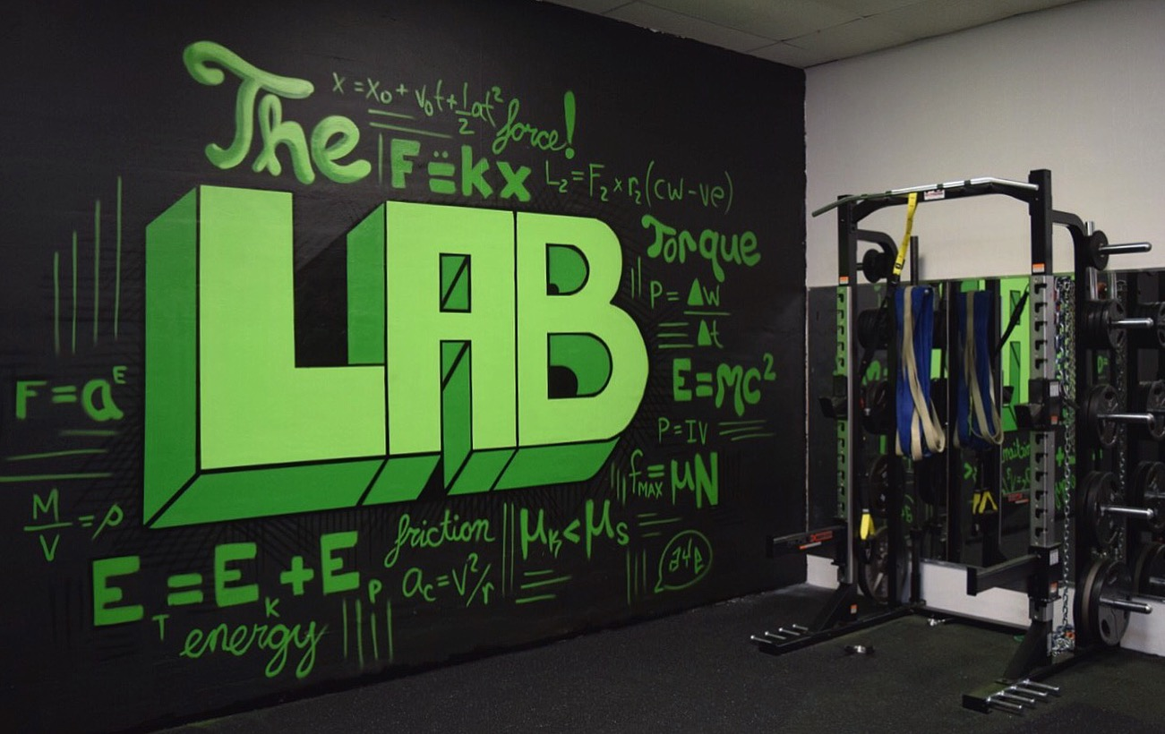"""""""The Lab"""" 15' x 12' spraye paint on concrete. Commissioned mural for Xplosive Sports Academy in Cherry Hill, NJ."""