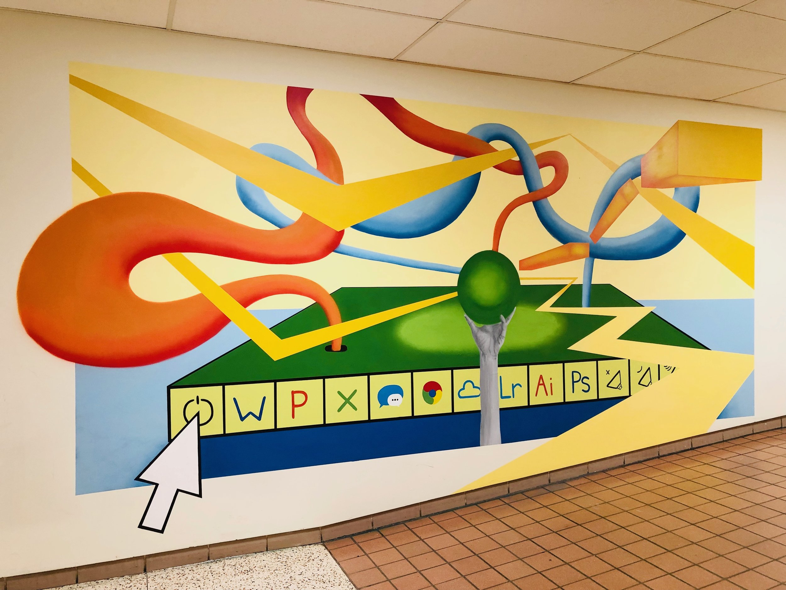 15' x 10' acrylic(s) on drywall w/ mixed reality capabilities @ Moorestown High School (Moorestown, New Jersey) in collaboration with @onlymcm