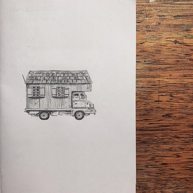 House trucks are among my most favourite of mashups ✨👌✨ #illustration #drawing #sketchbook #pencil #housetruck #cabin