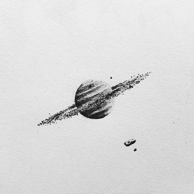 I'm a little behind with #inktober No.1, so you'll probably get 2 today! Haha. Here's No.1, with the prompt being 'Ring'. #inktober2019 #illustration #drawing #micron #planet #space