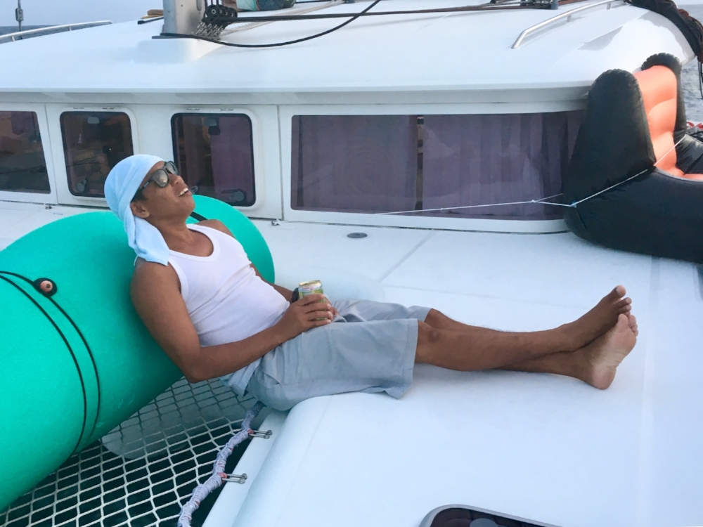 We have a good rest. (Here's our chief engineer,  Victor , who definitely deserves a good rest after spending weeks preparing the boat for this trip.)
