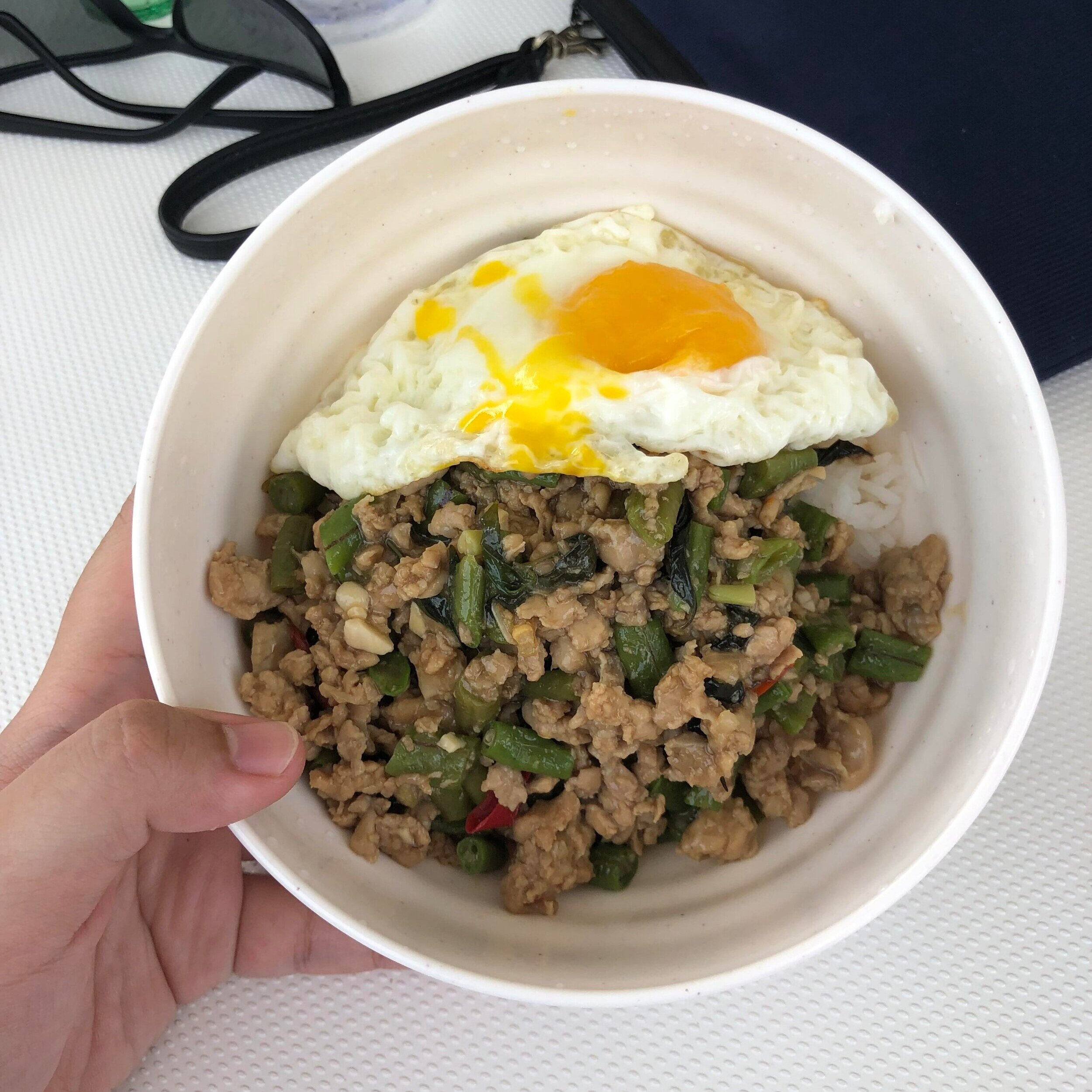 Pad Kra Pao with Chicken and Eggs