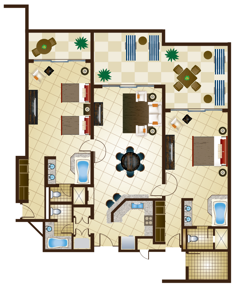 2 bedroom presidential suite (basic layout)