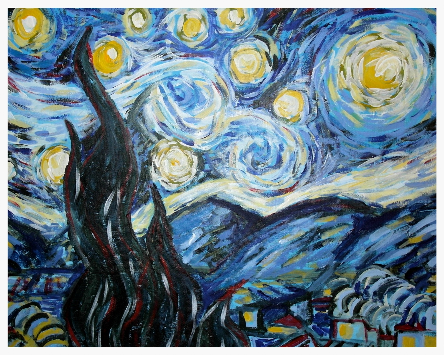 Imitation Van Gogh  Starry Night  that anyone can do! I can show you!
