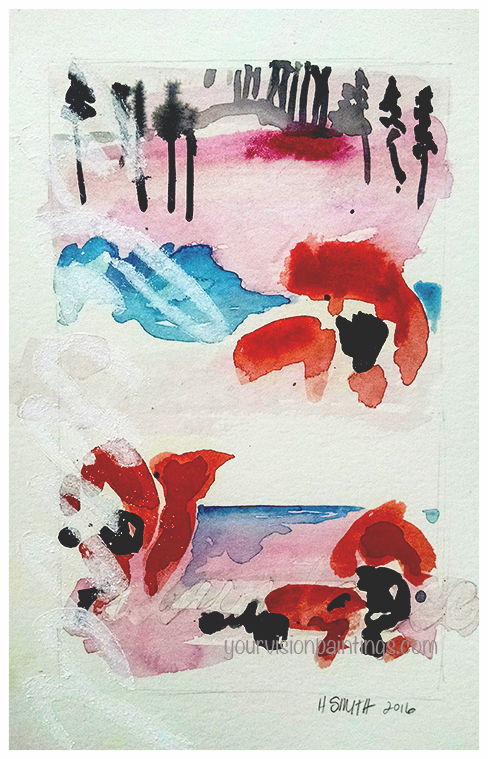 """Red Abundance/Sun Flowers"" 2016, mixed media on paper, 11x7"