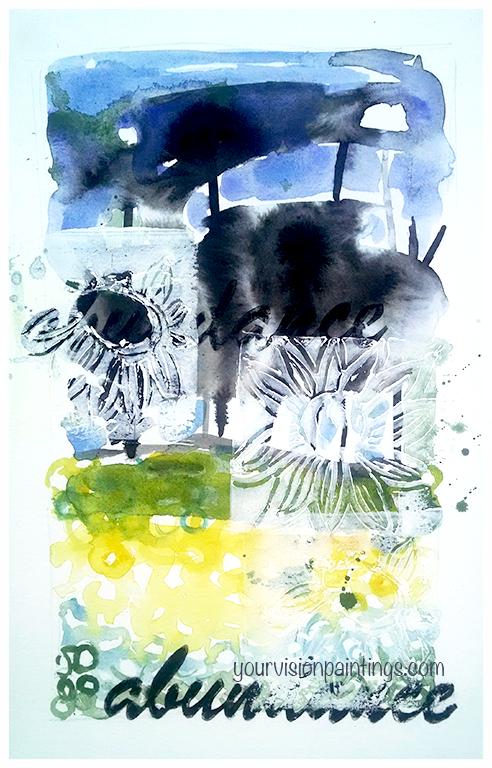 """ Abundance/Sunflowers "" 2016. Mixed Media on paper, 11x7"