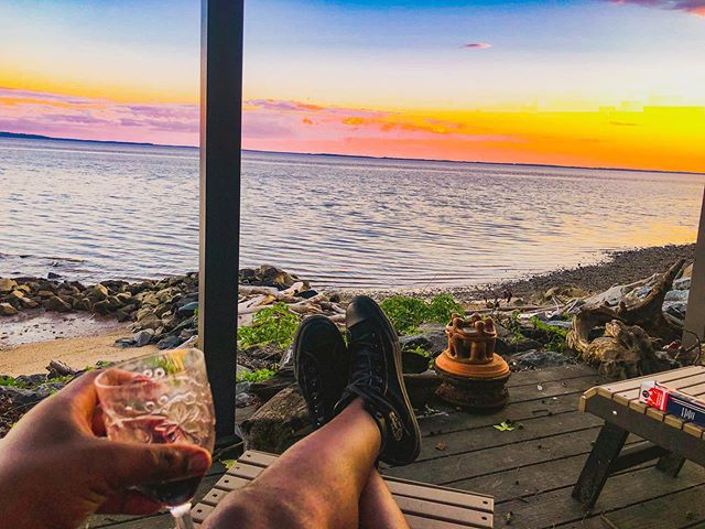 This how I like to #chill. Some #wine and #sunset by the bay. 🍷🌅