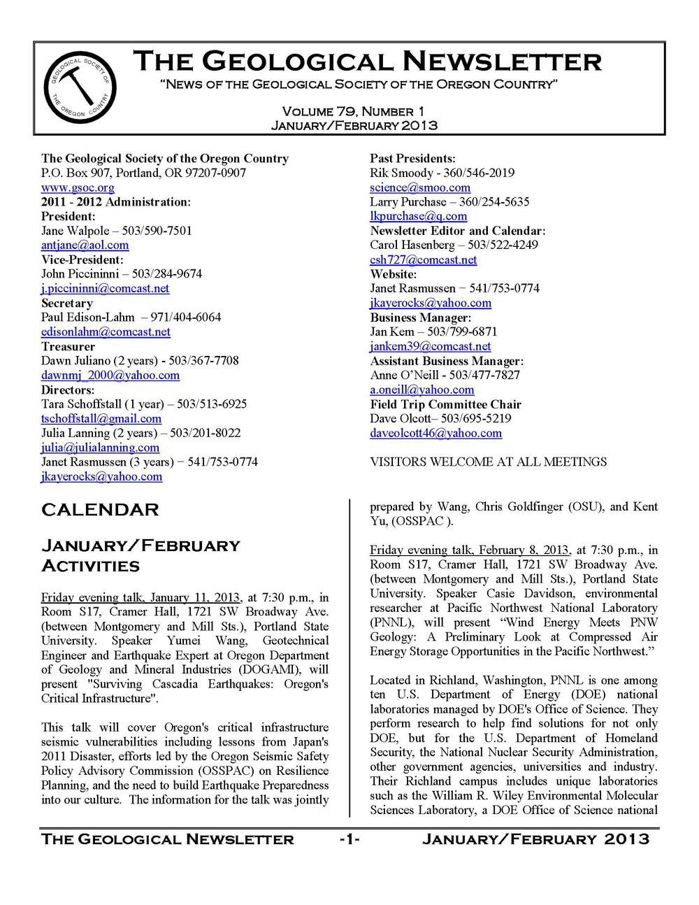 Newsletters 1995 to future (2024) — Geological Society of