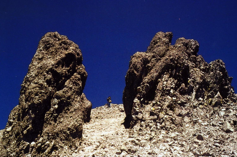 Dacite lava spines on the side of Lassen Peak