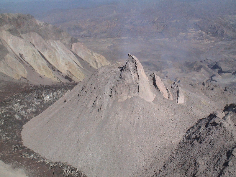 "Mt. St. Helens — Rhyolite erupting out of the dome vent in 2006 ""whaleback"" FormS"