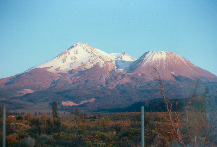 Mt. Shasta — view from the freeway. Shastina is the peak on the right.