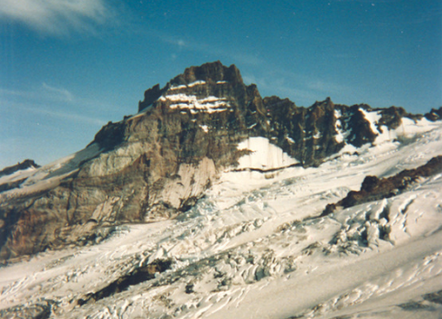 Mt. Rainier — Hydrothermally altered rocks can fail, creating massive debris flows that can endanger nearby populations.