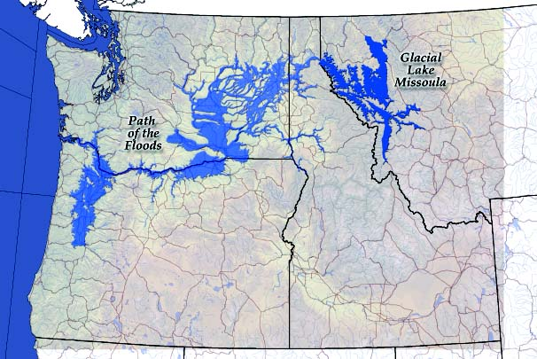 Flood waters from Glacial lake missoula emptied into the columbia drainage and backed up into the willamette valley.
