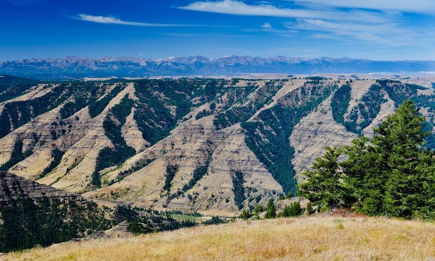 Hells Canyon looking southwest to the Zumwalt Prairie and Wallowa Mountains beyond. Photo by Ellen Morris Bishop.