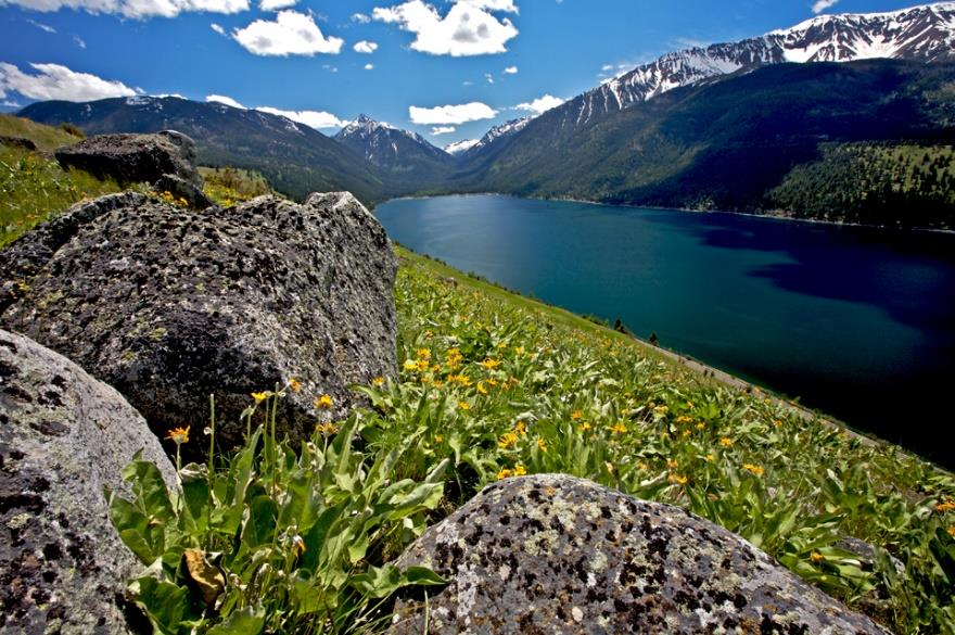 Glacial moraines and erratic boulders from the shores of Wallowa Lake. Photo by Ellen Morris Bishop.