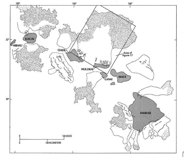 "USGS diagram from ""Imaging the Sea Floor,"" showing the extent of landslides around the Hawaiian Islands. The actual image, from the same article, produced by the side-scan sonar of the large landslide in the box is shown below."