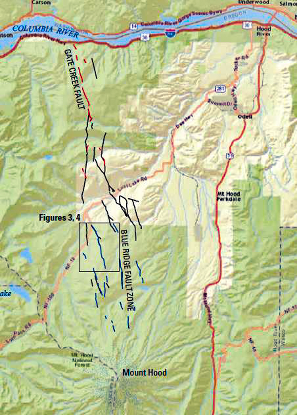 "Location map of the north faults in the Mount Hood Fault Zone.  Lidar-mapped fault features shown in color, black rectangles show locations of other figures in this paper, and heavy black lines are bedrock faults from recent geologic mapping by McClaughry and others (2012).  Sources: ESRI, HERE, DeLorme, USGS, Intermap, INCREMENT P, NRCan, Esri Japan, METI, Esri China (Hong Kong), Esri Korea, Esri (Thailand), MapmyIndia, NGCC, © OpenStreetMap contributors, and the GIS User Community. Compilation from DOGAMI paper ""The Mount Hood Fault Zone—Late Quaternary and Holocene Fault Features Newly Mapped with High Resolution Lidar Imagery,"" by Ian P. Madin, Ashley R. Streig, William J. Burns, and Lina Ma."