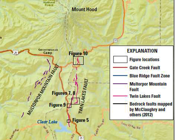 "Location map of the south faults in the Mount Hood Fault Zone.  Lidar-mapped fault features shown in color, black rectangles show locations of other figures in this paper, and heavy black lines are bedrock faults from recent geologic mapping by McClaughry and others (2012).  Sources: ESRI, HERE, DeLorme, USGS, Intermap, INCREMENT P, NRCan, Esri Japan, METI, Esri China (Hong Kong), Esri Korea, Esri (Thailand), MapmyIndia, NGCC, © OpenStreetMap contributors, and the GIS User Community. Compilation from DOGAMI paper ""The Mount Hood Fault Zone—Late Quaternary and Holocene Fault Features Newly Mapped with High Resolution Lidar Imagery,"" by Ian P. Madin, Ashley R. Streig, William J. Burns, and Lina Ma."