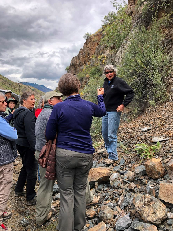 Our first two stops in Hells Canyon were in the first five miles north of Copperfield on the Idaho side, where we viewed the greenstones of the Hunsaker Creek formation.