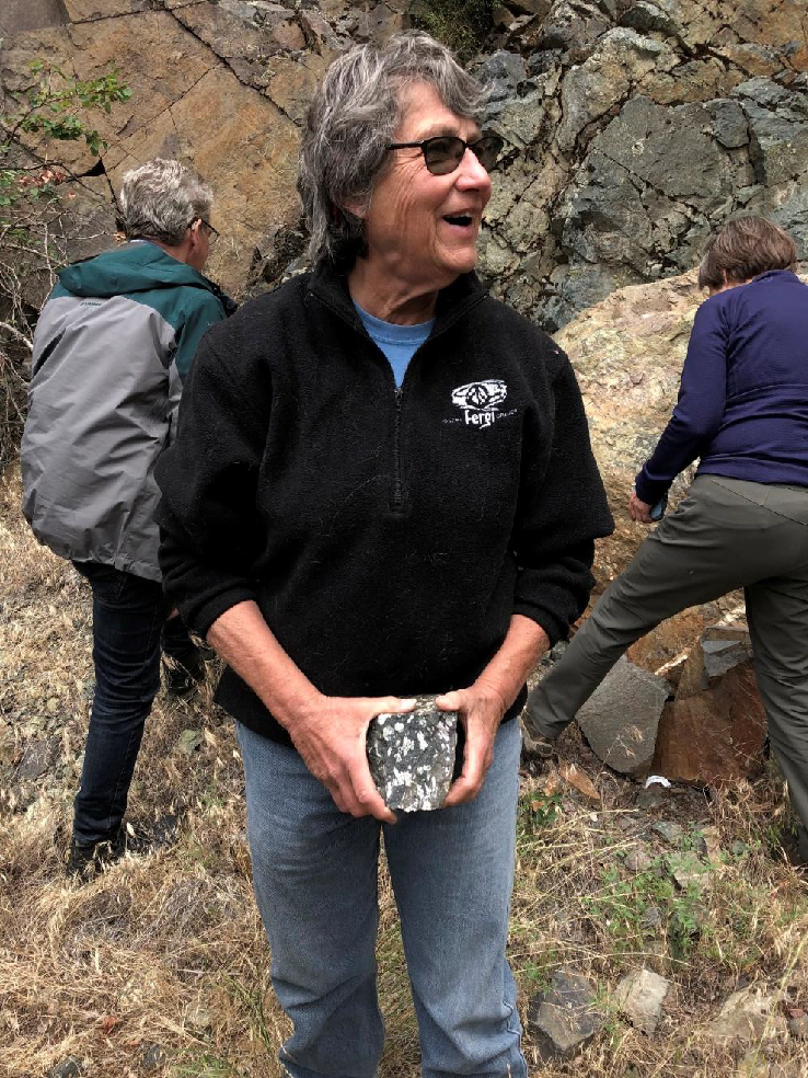This picture was taken of Ellen at the last stop before we reached Hells Canyon Dam, but darned if I can remember what the rock with the phenocrysts was about.