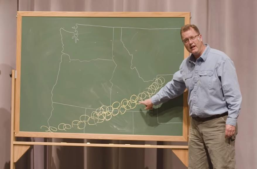 Zentner explaining just how many supervolcano eruptions have impacted the Pacific Northwest..