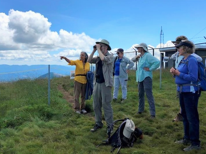 Group leader Sheila Alfsen discusses the features viewed from the top of Marys Peak.
