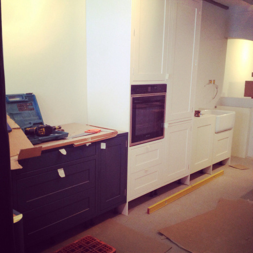 Bespoke cabinets painted in Farrow & Ball Stifkey Blue and Wevet