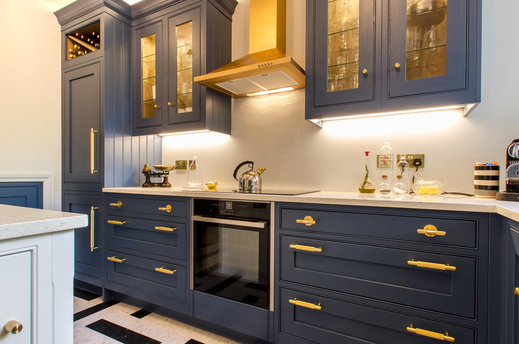 Blue and Brass kitchen