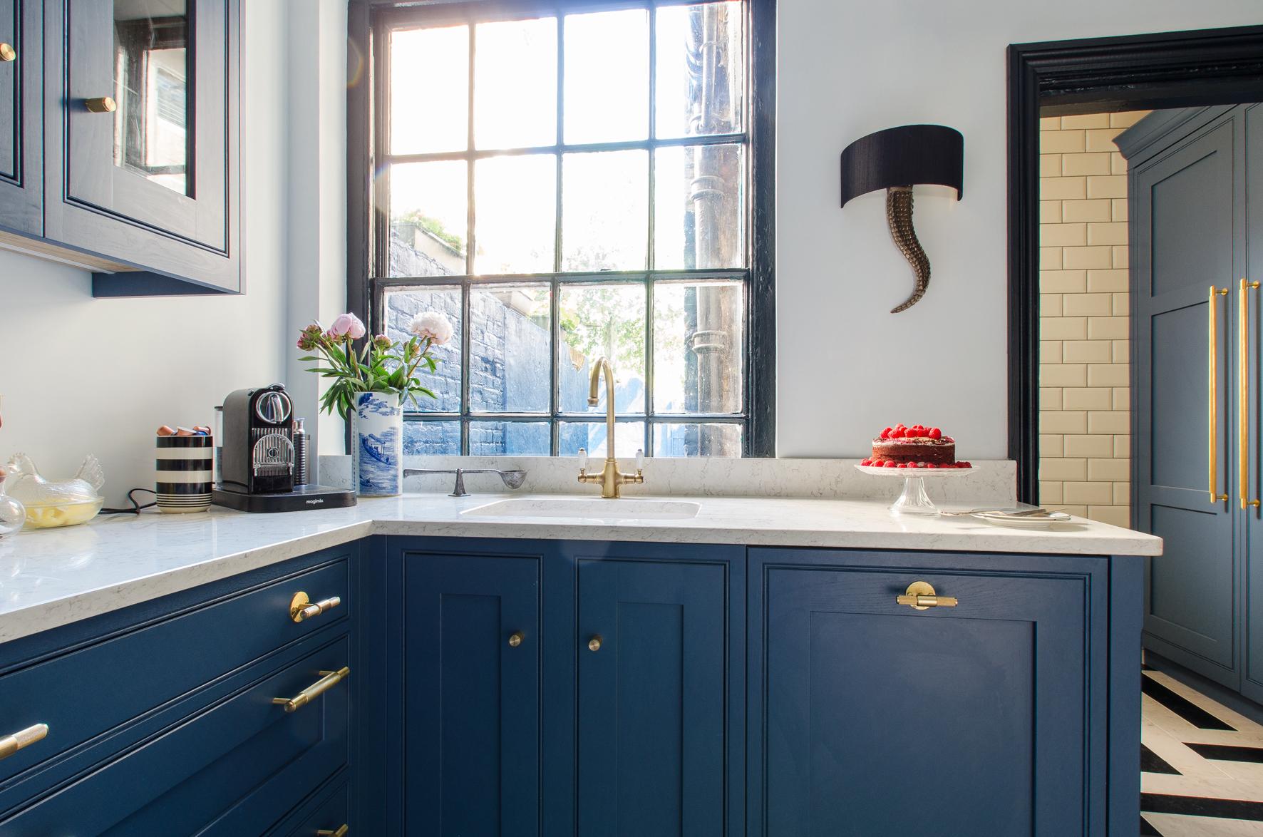 Bule painted kitchen