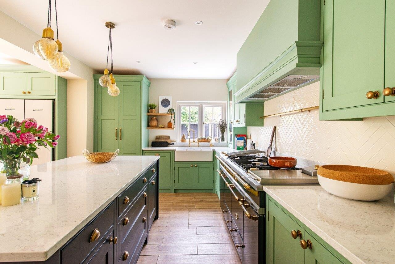 Green and Black Family Kitchen