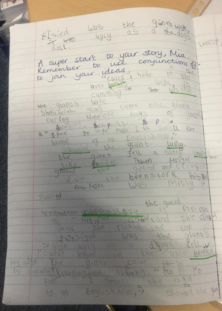 Mia was pleased that she remembered to use conjunctions to join some of her ideas. She had also used speech marks correctly.