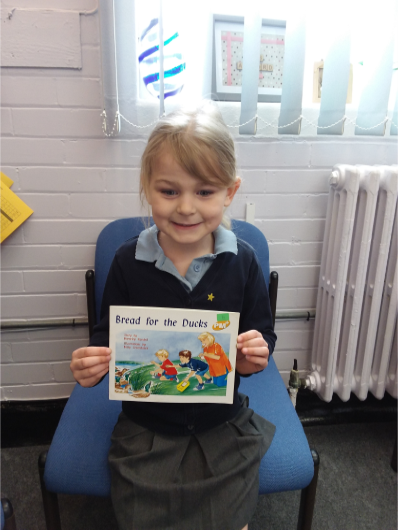 Leah came to read me  her book. Mrs Lockwood was so pleased with the progress she has made and how much effort she has put into improving her reading. She is really enjoying reading lots of books.  -