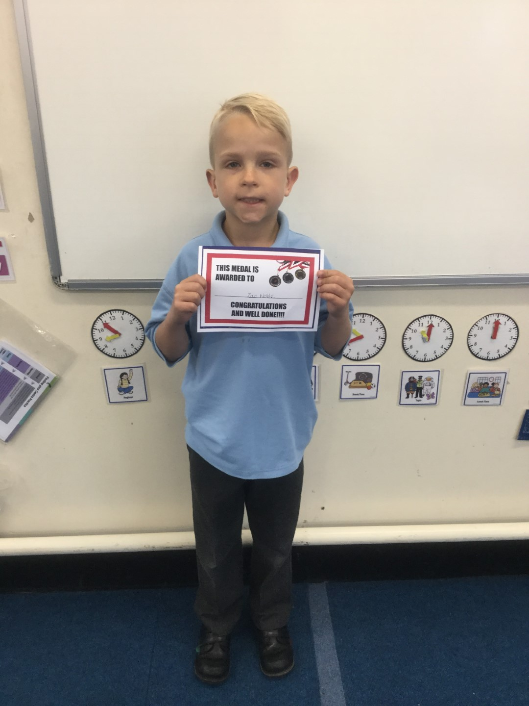 Our 'Champion of the Week' is Zac, who has been listening carefully during lessons and confidently volunteering to share his ideas and answers with others. Well done Zac! -