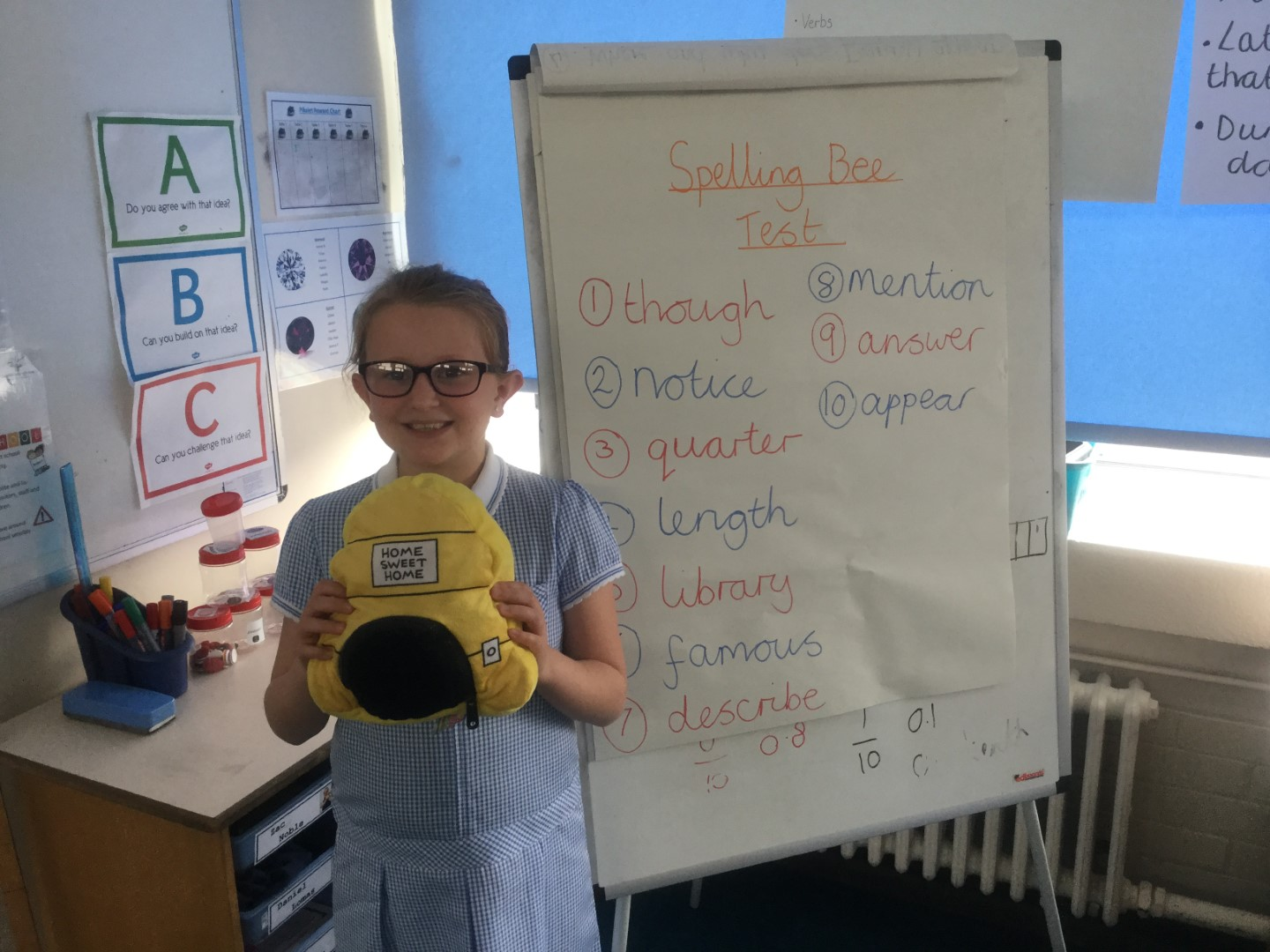 Our new 'Spelling Bee Champion' is Megan, as she scored 7 out of 10 on the 'Spelling Bee Test'. Well done Megan! -