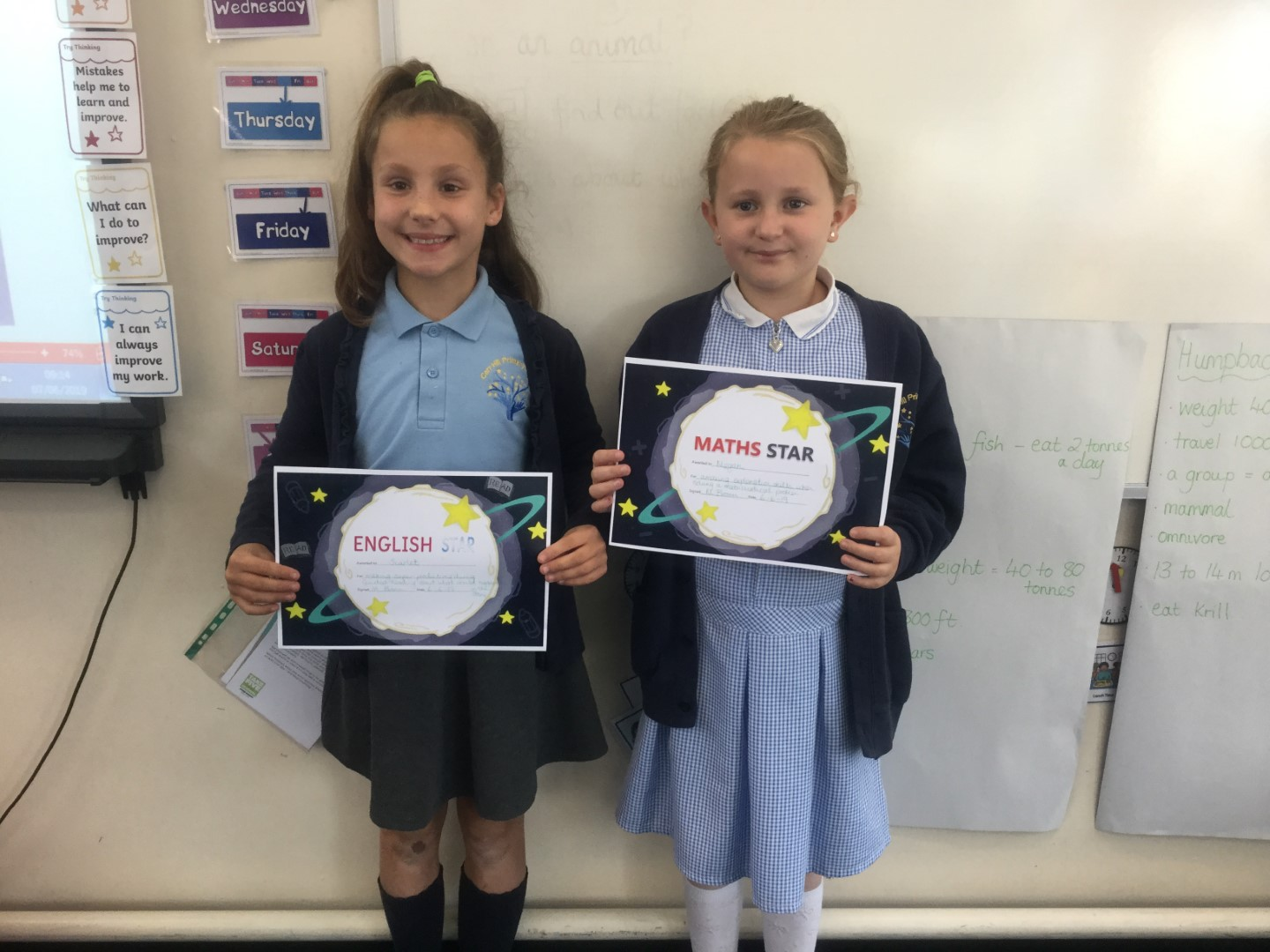 Our 'English & Maths Stars' are Scarlet and Megan. Scarlet made some excellent contributions during our Guided Reading Session when predicting what could happen in the story, and Megan for her clear explanation of how she solved a mathematical challenge involving the conversion of metres and centimetres. Well done to you both! -