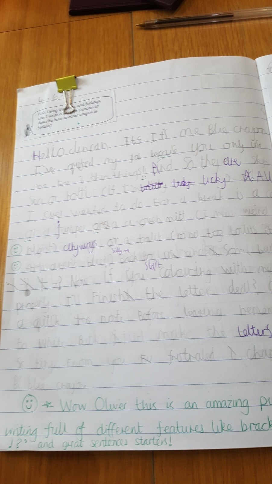 Here is Oliver's letter! We are very proud of Oliver's writing and he should be too! -