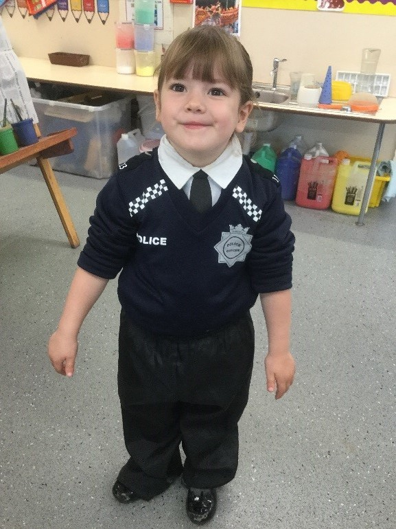 "This week the school were taking part in ""Road Safety Week"". In Nursery we dressed up as people who help us and thought about the jobs they do. -"