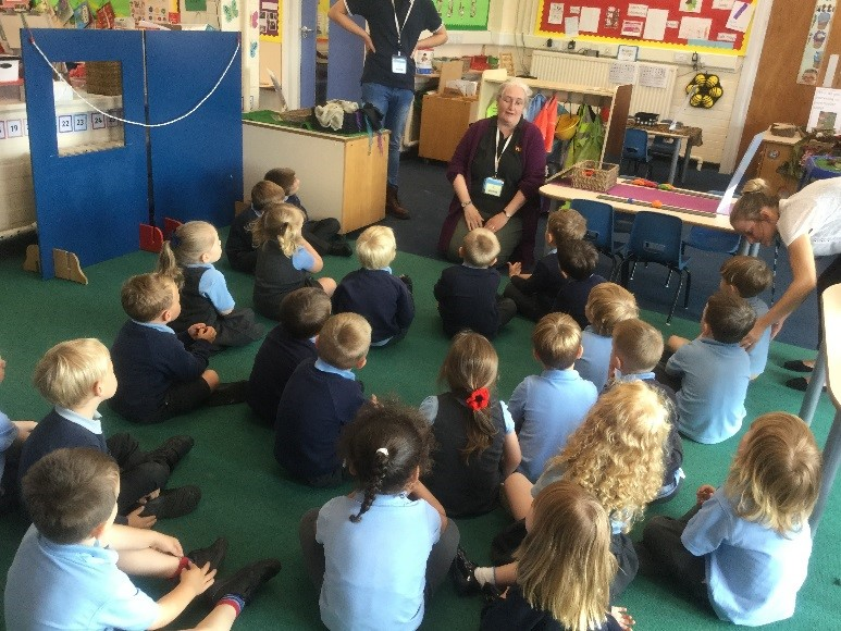 "We had a visit from Autumn who is part of the road safety team. She taught us a great song ""Stop, Look and Listen, before you cross the street"". It has a very important message which has hopefully been shared at home too. -"