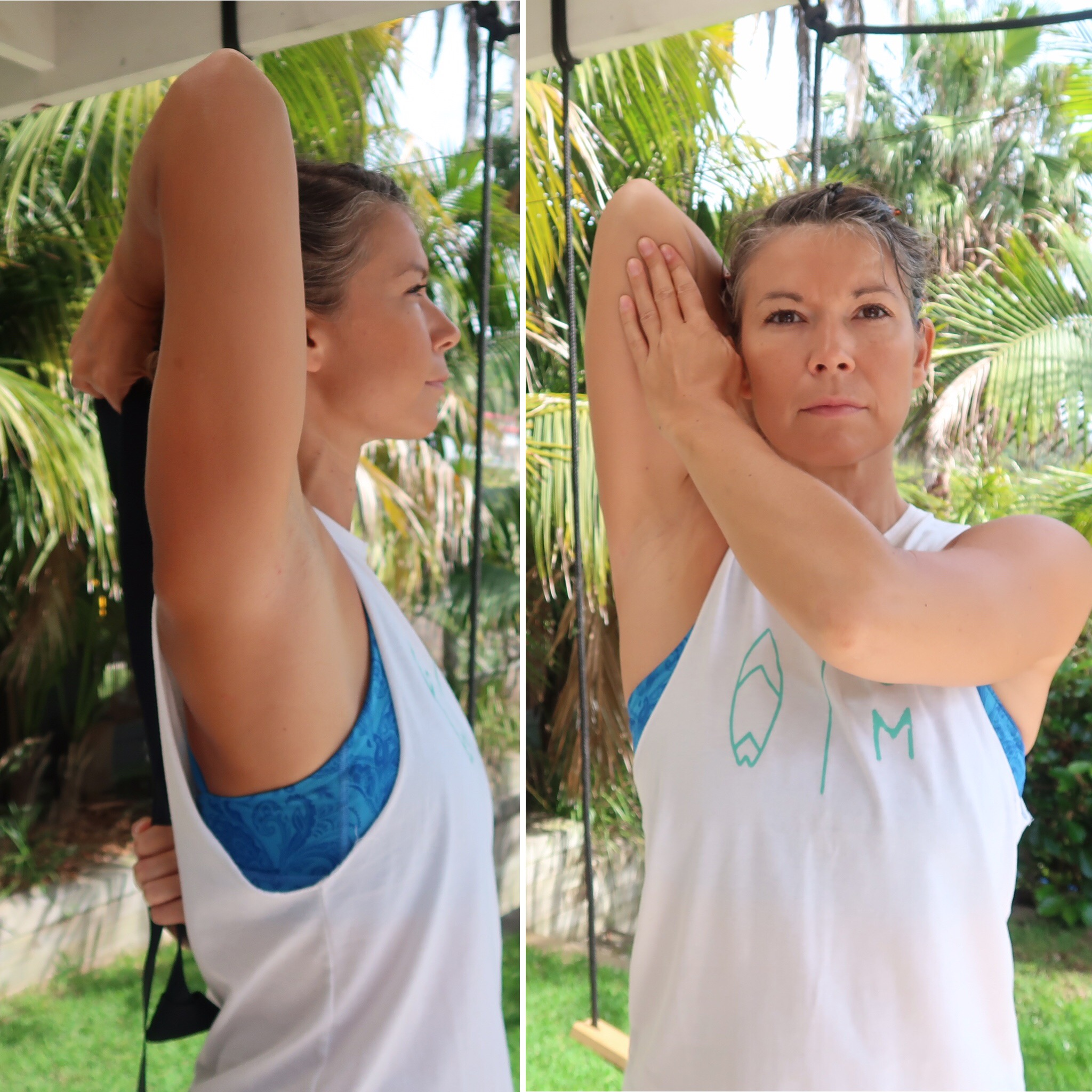 Tricep stretch  - take the elbow next to the ear and the elbow towards the sky. Keep the head, spine and ribs still (balance the book on your head). Either push the arm from the front or hold a strap behind the back body to pull the elbow skywards. Hold for 30-60 seconds.