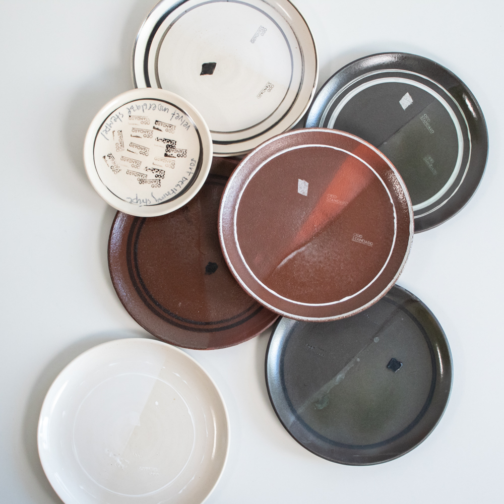 When developing the tableware for Eilert Smith, we tested various colours of clays, glazes, stripes and stamps before deciding on the chosen off-white clay with transparent glaze.