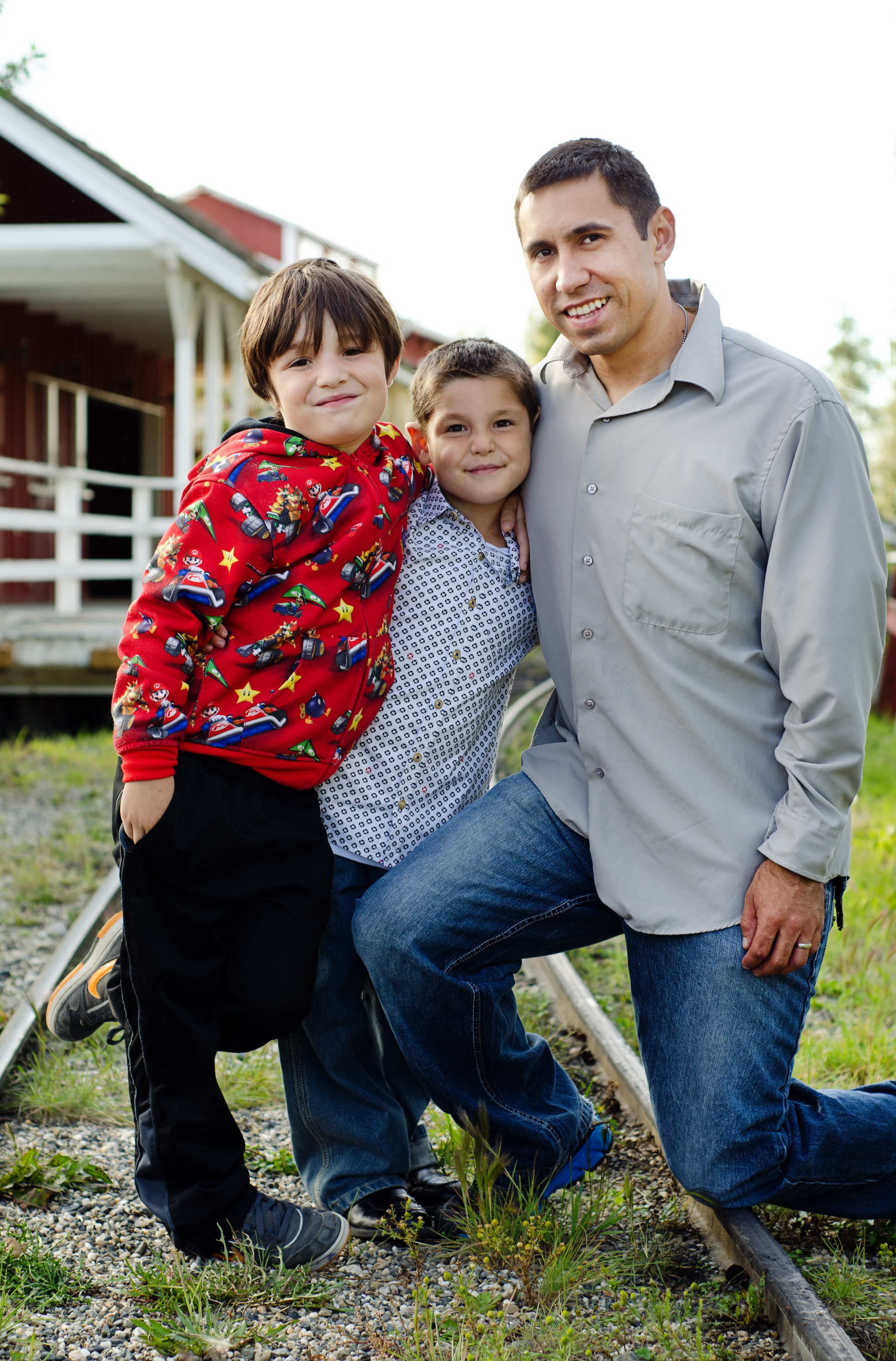 dad and boys at park in fairbanks - family photographer