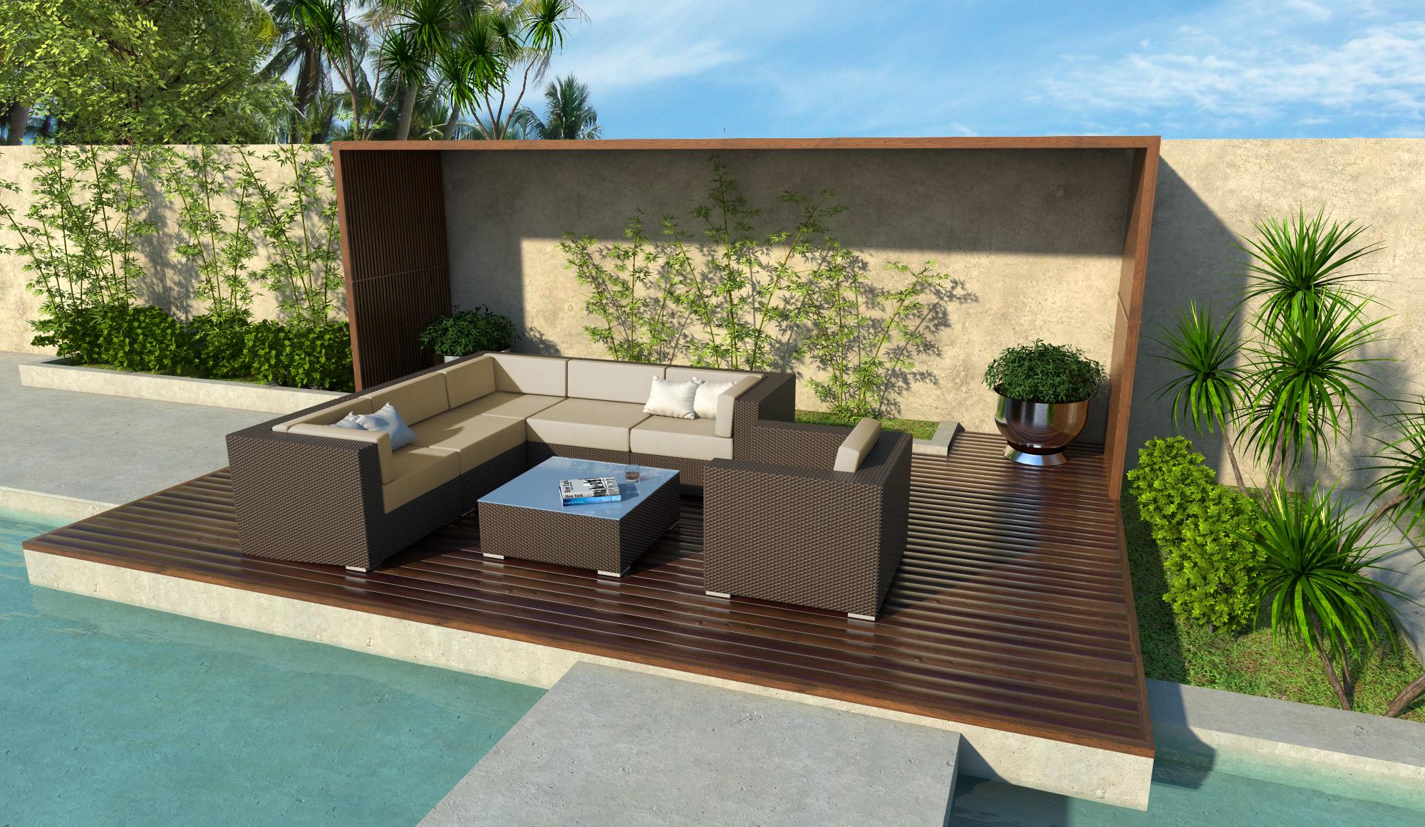 Grant 7 Piece Wicker Patio Sofa Sectional Set