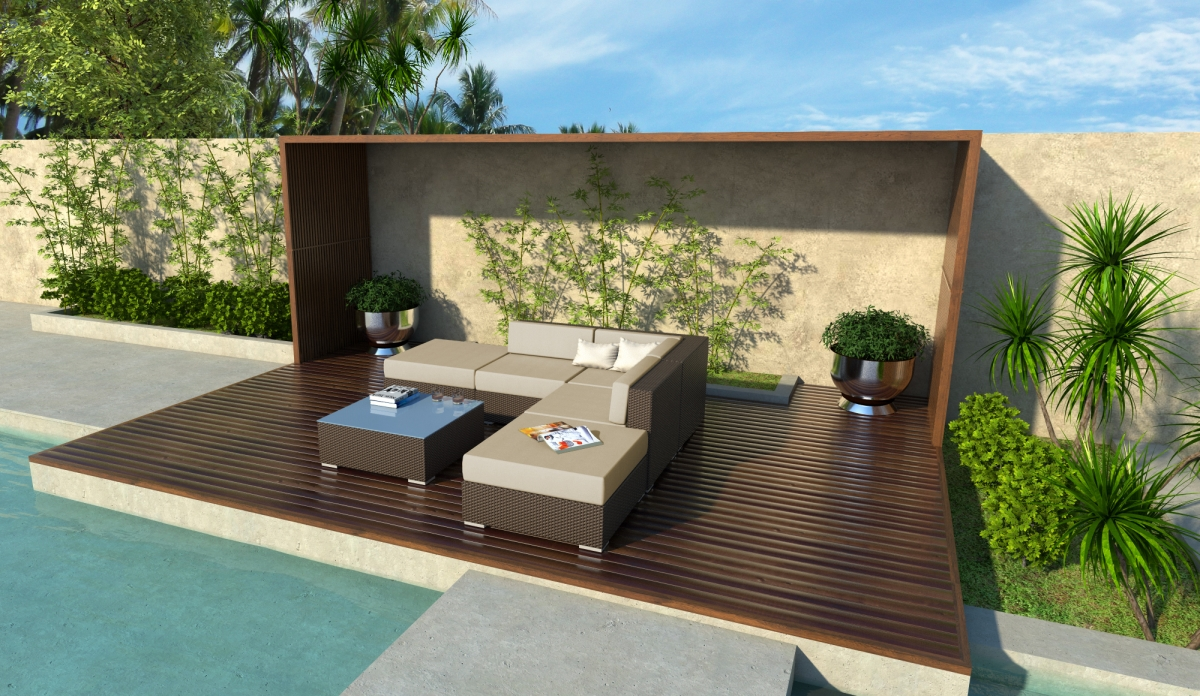 Ashland 6 Piece Wicker Patio Sofa Sectional Set