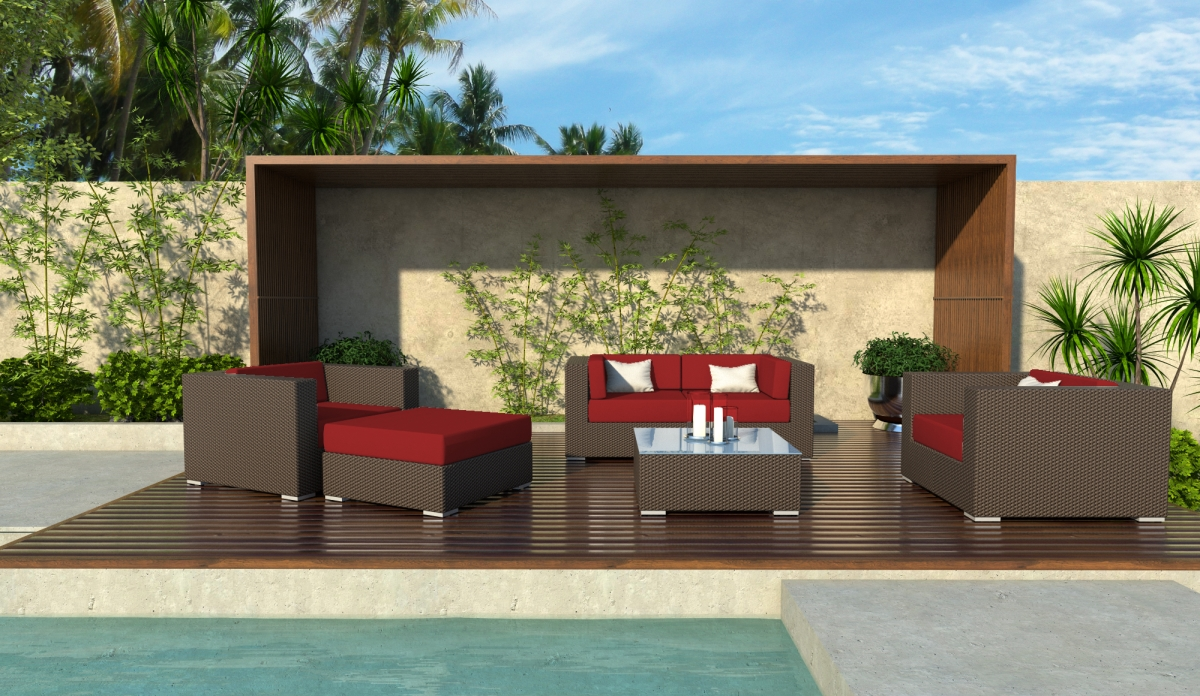 Hubbard 6 Piece Wicker Sofa Sectional Set
