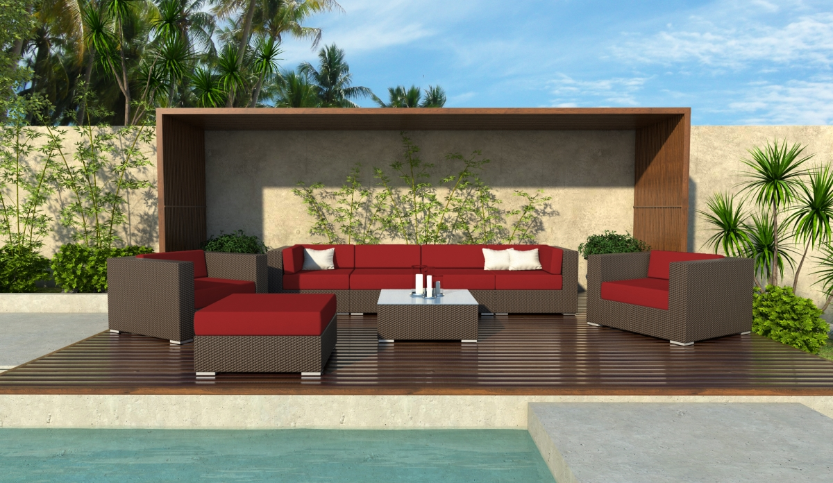 Lincoln 8 Piece Wicker Patio Sofa Sectional Set
